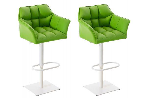 2er Set Barhocker Damaso Kunstleder weiß grün