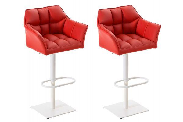 2er Set Barhocker Damaso Kunstleder weiß rot