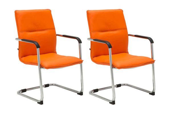 2er Set Besucherstuhl Seattle orange