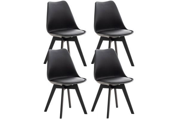 4er Set Stuhl Linares Kunststoff schwarz/schwarz