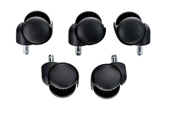5er Pack Bodenrollen Kunststoff schwarz