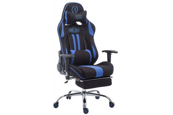 Racing Bürostuhl Limit Stoff mit Fußablage  schwarz/blau
